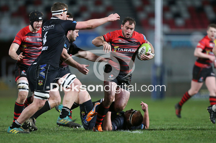 Friday 8th February 2019 | First Trust Ulster Senior Cup Final<br /> <br /> Andrew Willis on the attack for Armagh during the First Trust Ulster Senior Cup Final between Armagh and Ballymena at Kingspan Stadium, Ravenhill Park, Belfast, Northern Ireland. Photo by John Dickson / DICKSONDIGITAL