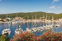 Sailing boats at the port of Fiskardo in Kefalonia island, Greece