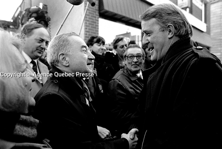 Montreal, CANADA - File Photo -  Mila and Brian Mulroney join Conservative Candidate McLelland (L) during the Federal electoral campaign, november 19, 1988<br /> <br /> Photo : Agence Quebec Presse  - Pierre Roussel