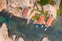 Aerial view of fishing huts along Soteleden trail, West Sweden, Sweden - Västsverige, Sverige