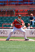 Erie SeaWolves first baseman Josh Lester (17) waits for a throw during an Eastern League game against the Harrisburg Senators on June 30, 2019 at UPMC Park in Erie, Pennsylvania.  Erie defeated Harrisburg 4-2.  (Mike Janes/Four Seam Images)