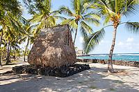 Model of a thatched hut temple in Pu'uhonua (Place of Refuge) o Honaunau National Historical Park, Big Island.