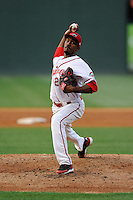 Pitcher Myles Smith (21) of the Greenville Drive in a game against the Augusta GreenJackets on Thursday, May 22, 2014, at Fluor Field at the West End in Greenville, South Carolina. Smith was a fourth-round pick of the Boston Red Sox in the 2013 First-Year Player Draft. Greenville won, 7-2. (Tom Priddy/Four Seam Images)