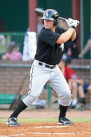 Bristol White Sox left fielder Cory Farris #44 awaits a pitch during a game against the Elizabethton Twins at Joe O'Brien Field on June 25, 2012 in Elizabethton, Tennessee. The Twins defeated the White Sox 9-1. (Tony Farlow/Four Seam Images).