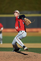Gardner-Webb Runnin' Bulldogs relief pitcher Jordan Hampton (33) in action against the Wake Forest Demon Deacons at David F. Couch Ballpark on February 18, 2018 in  Winston-Salem, North Carolina. The Demon Deacons defeated the Runnin' Bulldogs 8-4 in game one of a double-header.  (Brian Westerholt/Four Seam Images)
