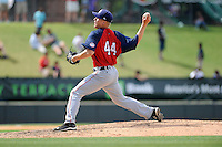 Pitcher Justin Amlung (44) of the Hagerstown Suns, delivers a pitch in a game against the Greenville Drive on May 12, 2015, at Fluor Field at the West End in Greenville, South Carolina. Greenville won, 4-0. (Tom Priddy/Four Seam Images)