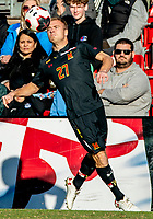 COLLEGE PARK, MD - NOVEMBER 03: Matt Di Rosa #27 of Maryland pulls in a high cross during a game between Michigan and Maryland at Ludwig Field on November 03, 2019 in College Park, Maryland.