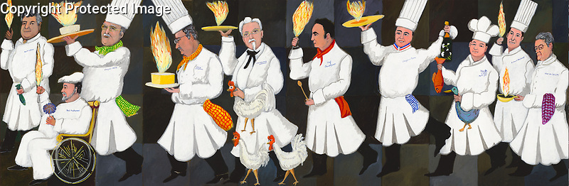 """""""Parade of Champions""""<br /> Limited Edition Giclee on Canvas<br /> 10"""" x 30""""<br /> $650<br /> Artist Proofs Only<br /> <br /> Originally commissioned by Ventura Foods, LLC for their 10th Anniversary of Menu Masters Awards ceremony held at the National Restaurant Association annual convention 2007. <br /> <br /> Celebrity chefs in order are;<br /> Bert Cutino; Sardine Factory, Monterey<br /> Paul Prudhomme; K-Pauls New, Orleans<br /> Jasper White; Jasper White's Seafood Shack, Boston<br /> David Overton; Cheesecake Factory<br /> Col Harland Sanders; Kentucky Fried Chicken<br /> Emerill LaGasse; Emerill's<br /> Jacques Pepin; French Chef, Author, TV Cooking<br /> Martin Yan; Yan Can Cook<br /> Richard Melman: Lettuce Entertain You Enterprises<br /> Warren Leruth; Restauranteur-Food Scientist"""