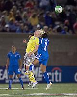 Philadelphia Independence midfielder Caroline Seger (9) and Boston Breakers midfielder Chioma Igwe (2) battle for head ball. The Boston Breakers tied the Philadelphia Independence, 1-1, at Harvard Stadium on April 18, 2010.