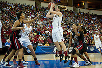 FRESNO, CA--Toni Kokenis takes the short jumper during a 76-60 win over South Carolina at the Save Mart Center for the West Regionals semifinals of the 2012 NCAA Championships.