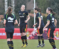 Denmark U17 - Belgium U17 : 3 Tine De Caigny en 11.Shayna Raekelboom .foto DAVID CATRY / Vrouwenteam.be