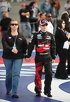 Feb 21, 2009; Fontana, CA, USA; NASCAR Nationwide Series driver Justin Allgaier with wife Ashley Allgaier  prior to the Stater Brothers 300 at Auto Club Speedway. Mandatory Credit: Mark J. Rebilas-
