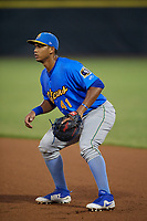Myrtle Beach Pelicans first baseman Wladimir Galindo (41) during a Carolina League game against the Potomac Nationals on August 14, 2019 at Northwest Federal Field at Pfitzner Stadium in Woodbridge, Virginia.  Potomac defeated Myrtle Beach 7-0.  (Mike Janes/Four Seam Images)