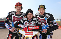 The 2015 Lakeside Hammers; Adam Ellis, Richard Lawson and Kim Nilsson - Lakeside Hammers Press & Practice Day at the Arena Essex Raceway, Pufleet - 20/03/15 - MANDATORY CREDIT: Rob Newell/TGSPHOTO - Self billing applies where appropriate - 0845 094 6026 - contact@tgsphoto.co.uk - NO UNPAID USE