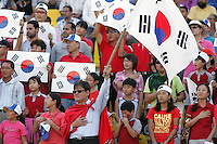 South Korean fans are ready for the match to beging during the FIFA Under 20 World Cup Quarter-final match between Ghana and South Korea at the Mubarak Stadium  in Suez, Egypt, on October 09, 2009.