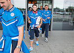 Spartak Trnava v St Johnstone...06.08.14  Europa League Qualifier 3rd Round<br /> Stevie May arrives at Bratislava Airport <br /> Picture by Graeme Hart.<br /> Copyright Perthshire Picture Agency<br /> Tel: 01738 623350  Mobile: 07990 594431