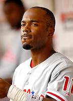 11 June 2006: Jimmy Rollins, shortstop for the Philadelphia Phillies, in the dugout during a game against the Washington Nationals at RFK Stadium, in Washington, DC. The Nationals shut out the visiting Phillies 6-0 to take the series three games to one...Mandatory Photo Credit: Ed Wolfstein Photo..