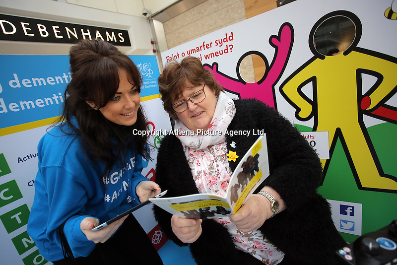 Pictured L-R: Louisa Lorey and Ann Lee Saturday 18 Saturday<br />Re: Welsh Government Dementia Risk Prevention Roadshow at the Quadrant Shopping Centre in Swansea, Wales, UK.