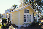 Kissimmee, Florida. c.1980.  Devoid of decoration, these cottages nonetheless are comfortable with many, multipaned windows to let the Florida sunshine stream in, and small decks off the back to enjoy a cup of coffee and the morning paper.