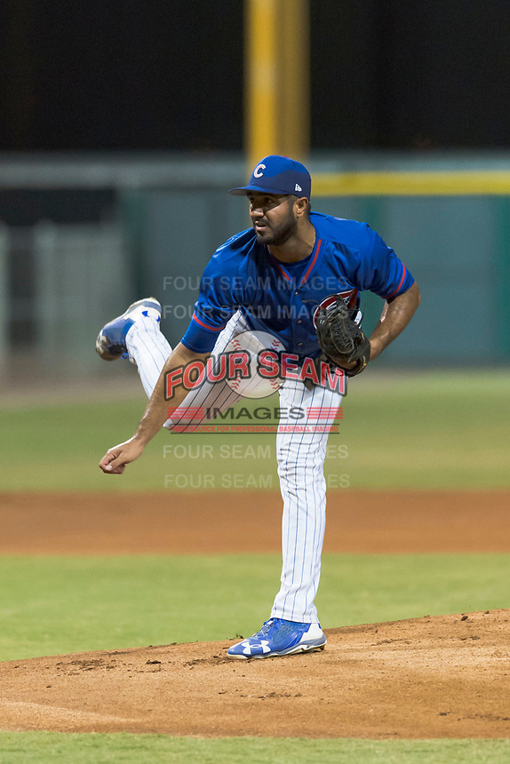 AZL Cubs 2 starting pitcher Emilio Ferrebus (43) follows through on his delivery during an Arizona League game against the AZL Indians 2 at Sloan Park on August 2, 2018 in Mesa, Arizona. The AZL Indians 2 defeated the AZL Cubs 2 by a score of 9-8. (Zachary Lucy/Four Seam Images)