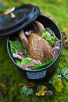 Europe/France/Centre/41/Loir-et-Cher/Sologne/Bracieux:  Perdreau gris et chou braisé au lard, recette de Didier Doreau,   du Rendez-vous des Gourmets // Gray partridge and cabbage braised with bacon recipe Didier Doreau, Restaurant Rendezvous des Gourmets