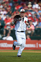 Brendan McKay (38) of the Louisville Cardinals jogs off the field between innings of the game against the Florida State Seminoles in Game Eleven of the 2017 ACC Baseball Championship at Louisville Slugger Field on May 26, 2017 in Louisville, Kentucky. The Seminoles defeated the Cardinals 6-2. (Brian Westerholt/Four Seam Images)