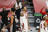 Arkansas forward Vance Jackson Jr. (2) reacts, Saturday, January 9, 2021 during the first half of a basketball game at Bud Walton Arena in Fayetteville. Check out nwaonline.com/210110Daily/ for today's photo gallery. <br /> (NWA Democrat-Gazette/Charlie Kaijo)
