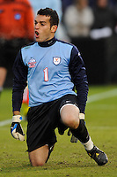 Virginia Cavaliers goalkeeper Diego Restrepo (1) celebrates making a save during the penalty kick shootout. The Virginia Cavaliers defeated the Akron Zips 3-2 in a penalty kick shoot out after a scoreless game and overtime in the finals of the 2009 NCAA Men's College Cup at WakeMed Soccer Park in Cary, NC on December 13, 2009.