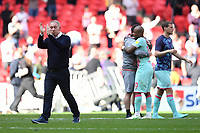 Steve Cooper Head Coach of Swansea City applauds the fans at the final whistle during the Sky Bet Championship Play Off Final match between Brentford and Swansea City at Wembley Stadium in London, England, UK. Saturday 29 May 2021