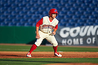 Clearwater Threshers second baseman Scott Kingery (31) leads off first during a game against the Dunedin Blue Jays on April 8, 2016 at Bright House Field in Clearwater, Florida.  Dunedin defeated Clearwater 8-3.  (Mike Janes/Four Seam Images)
