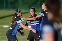 Kansas City, MO - Saturday July 16, 2016: Shea Groom, Frances Silva celebrates, Yael Averbuch during a regular season National Women's Soccer League (NWSL) match at Swope Soccer Village.