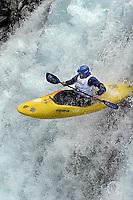 Winner of the Ektremsportveko  downhill kayak finals, Mike Abbot of New Zealand, in the Brandseth river.<br />