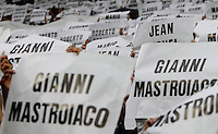 Calcio, Serie A: Juventus vs Napoli. Torino, Juventus Stadium, 23 maggio 2015. <br /> Juventus fans remember the Heysel victims prior to the start of the Italian Serie A football match between Juventus and Napoli at Turin's Juventus Stadium, 23 May 2015.<br /> UPDATE IMAGES PRESS/Isabella Bonotto