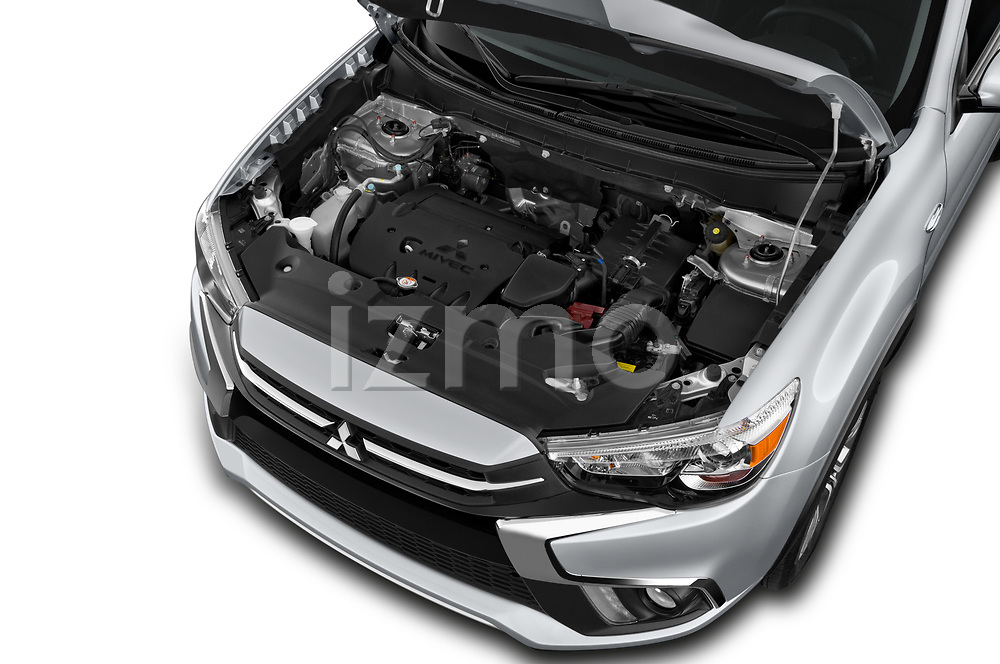 Car Stock 2019 Mitsubishi Outlander-Sport GT 5 Door SUV Engine  high angle detail view