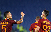 Calcio, Serie A: Roma vs Palermo. Roma, stadio Olimpico, 23 ottobre 2016.<br /> Roma's Stephan El Shaarawy, right, celebrates with teammate Leandro Paredes after scoring during the Italian Serie A football match between Roma and Palermo at Rome's Olympic stadium, 23 October 2016. Roma won 4-1.<br /> UPDATE IMAGES PRESS/Riccardo De Luca