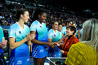 Mystics goalshoot Grace Nweke receives her gold medal from Governor-General Dame Patsy Reddy after the ANZ Premiership netball final between Northern Mystics and Mainland Tactix at Spark Arena in Auckland, New Zealand on Sunday, 8 August 2021. Photo: Dave Lintott / lintottphoto.co.nz