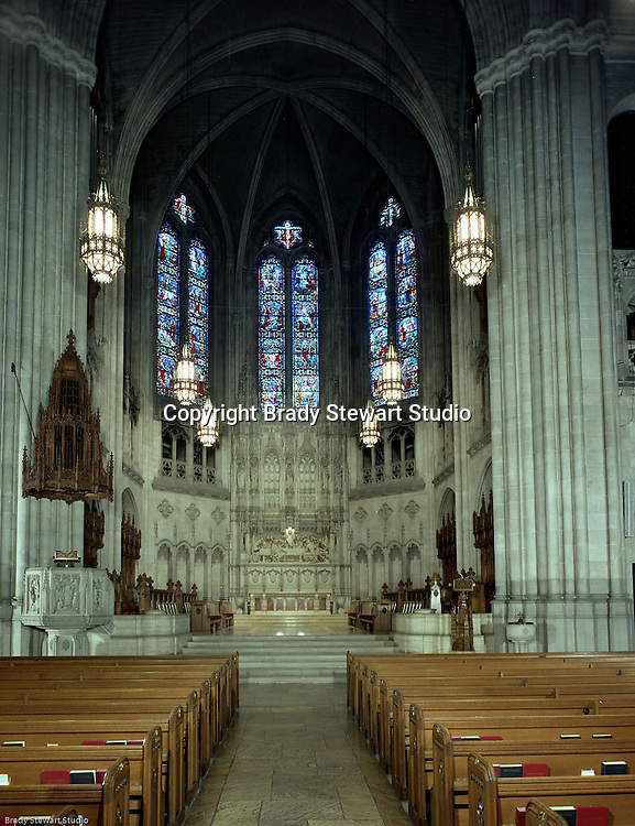 East Liberty PA:  View of the interior of the East Liberty Presbyterian Church.  Brady Stewart Jr and Carmen Sabatasso photographed the interior and exterior of the church in 1976. View of the stained glass and sculpture in the Sanctuary Chancel.