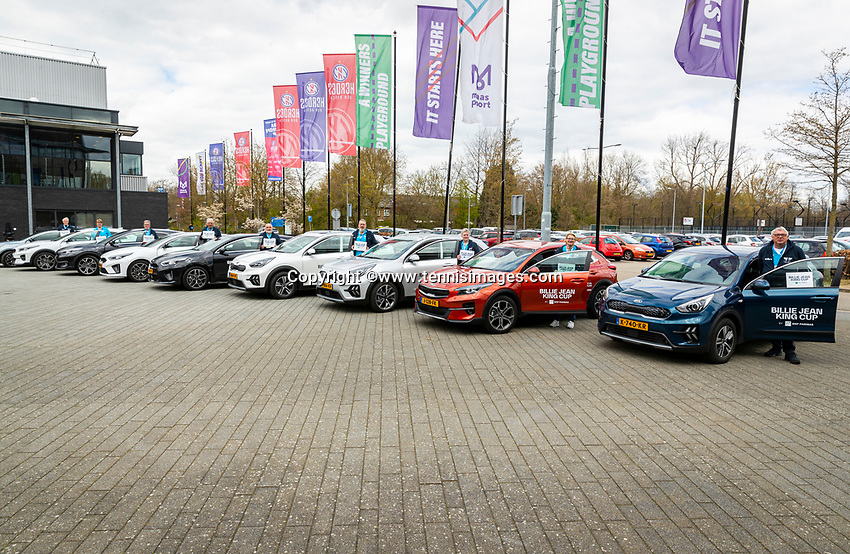 Den Bosch, The Netherlands, April 15, 2021,    Maaspoort, Billy Jean King Cup  Netherlands -  China : KIA official cars<br /> Photo: Tennisimages/Henk Koster