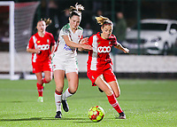 Estee Cattoor (11 OHL) and Charlotte Cranshoff (18 Standard) battle for the ball during a female soccer game between Oud Heverlee Leuven and Standard Femina De Liege on the 10th matchday of the 2020 - 2021 season of Belgian Womens Super League , sunday 20 th of December 2020  in Heverlee , Belgium . PHOTO SPORTPIX.BE   SPP   SEVIL OKTEM