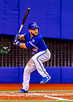 26 March 2018: Toronto Blue Jays catcher Russell Martin in action during a pre-season exhibition game against the St. Louis Cardinals at Olympic Stadium in Montreal, Quebec, Canada. The Cardinals defeated the Blue Jays 5-3 in the first of two MLB Grapefruit League games. Mandatory Credit: Ed Wolfstein Photo *** RAW (NEF) Image File Available ***