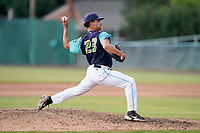 Pitcher Randy Labaut (23) of the Lynchburg Hillcats in a game against the Delmarva Shorebirds on Wednesday, August 11, 2021, at Bank of the James Stadium in Lynchburg, Virginia. (Tom Priddy/Four Seam Images)