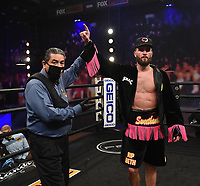 LOS ANGELES - JANUARY 30: Caleb Plant after defeating Caleb Truax during their fight on Fox Sports PBC fight night at the Shrine Auditorium and Expo Hall in Los Angeles, California on January 30, 2021. (Photo by Frank Micelotta/Fox Sports)