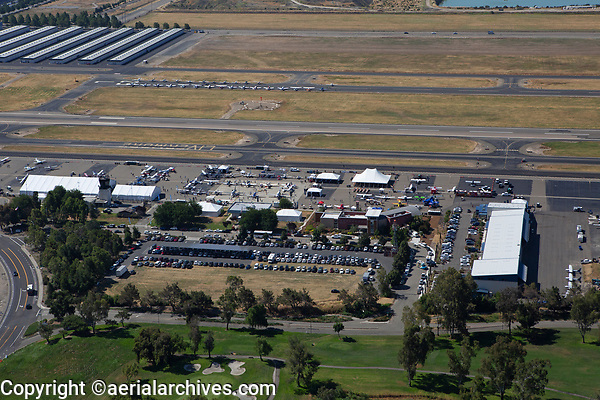 aerial photograph of the Aircraft Owners and Pilots Association (AOPA) Fly-In June 21-22, 2019 at the Livermore Municipal Airport (LVK), Livermore, Alameda County, CA