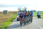 The breakaway featuring Evaldas Šiškevicius (LTU) Nippo Delko Provence, Elmar Reinders (NED) Riwal Securitas, Sergio Martín (ESP) Caja Rural-Seguros RGA, Petr Rikunov (RUS) Gazprom-RusVelo, Emiel Vermeulen (BEL) Natura4Ever-Roubaix Lille Métropole and Mikel Aristi (ESP)Euskaltel-Euskadi during Paris-Tours 2020, running 213km from Chartres to Tours, France. 11th October 2020.<br /> Picture: ASO/Gautier Demouveaux | Cyclefile<br /> All photos usage must carry mandatory copyright credit (© Cyclefile | ASO/Gautier Demouveaux)