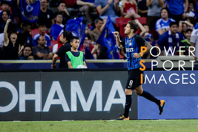 FC Internazionale Forward Stevan Jovetic celebrating his score during the International Champions Cup 2017 match between FC Internazionale and Chelsea FC on July 29, 2017 in Singapore. Photo by Marcio Rodrigo Machado / Power Sport Images
