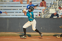 Wade Chandler (19) (UNC Asheville) of the Mooresville Spinners follows through on his swing against the Dry Pond Blue Sox at Moor Park on July 2, 2020 in Mooresville, NC.  The Spinners defeated the Blue Sox 9-4. (Brian Westerholt/Four Seam Images)