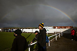 Holker Old Boys 2 Crook Town 1, 10/10/2020. Rakesmoor, FA Vase second round qualifying. A visiting supporter is framed by a rainbow during the second-half as Holker Old Boys take on Crook Town in an FA Vase second round qualifying tie at Rakesmoor, Barrow-in-Furness. The home club was established in 1936 as Holker Central Old Boys and was initially an under-16 team for former pupils of the Holker Central Secondary School. Holker from the North West Counties League beat their Northern League opponents 2-1, watched by a crowd of 147 spectators. Photo by Colin McPherson.