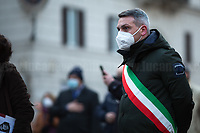 """Representative of the Mayor of Nola, City in Campania Region where Giordano Bruno was born.  <br /> <br /> Rome, Italy, 17th Feb, 2021. Today, the Assaciazione Nazionale del Libero Pensiero """"Giordano Bruno"""" (1.), with the participation of a representatives of Comune di Roma (Rome's Municipality) and Comune di Nola (Nola's Municipality), held the 421st Anniversary of the death of Giordano Bruno (2. 3.) in Rome's Campo de' Fiori (4.). On the 17th February 1600 the Dominican friar, Philosopher, mathematician, poet, occultist and cosmological theorist - after being charged of heresy by the Roman Inquisition due to be on denial of several core Catholic doctrines - was burned alive with his tongue in a gag in Rome's Campo dei Fiori. Father of the theories of the Infinite Universe and Worlds, «[…] Bruno's theories influenced 17th-century scientific and philosophical thought and, since the 18th century, have been absorbed by many modern philosophers. As a symbol of the freedom of thought, Bruno inspired the European Liberal movements of the 19th century, particularly the Italian Risorgimento (the movement for national political unity). […] his ethical ideas, in contrast to religious ascetical ethics, appeal to modern humanistic activism; and his ideal of religious and philosophical tolerance has influenced liberal thinkers […]» (5.).<br /> <br /> Footnotes & links:<br /> 1. http://www.periodicoliberopensiero.it/<br /> 2. https://bit.ly/2bBI5th (Wikipedia.org, ENG) <br /> 3. https://bit.ly/2Vb72mI (Treccani.it, ITA)<br /> 4. https://bit.ly/1OU5RzD (Wikipedia.org, ENG)<br /> 5. https://bit.ly/2BvzNQw (Britannica.com, ENG)<br /> 17.02.2019 - Giordano Bruno Anniversary in Rome's Campo de' Fiori (Foto / Video): http://bit.do/fNMSg & https://vimeo.com/318849723"""
