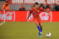 EAST RUTHERFORD, NJ - SEPTEMBER 7: Christian Pulisic #10 of the United States kicks the ball during a game between Mexico and USMNT at MetLife Stadium on September 6, 2019 in East Rutherford, New Jersey.