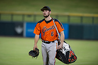 Cody Brickhouse (6) of the AZL Giants walks from the bullpen to the dugout after a game against the AZL Cubs on September 6, 2017 at Sloan Park in Mesa, Arizona. AZL Giants defeated the AZL Cubs 6-5 to even up the Arizona League Championship Series at one game a piece. (Zachary Lucy/Four Seam Images)